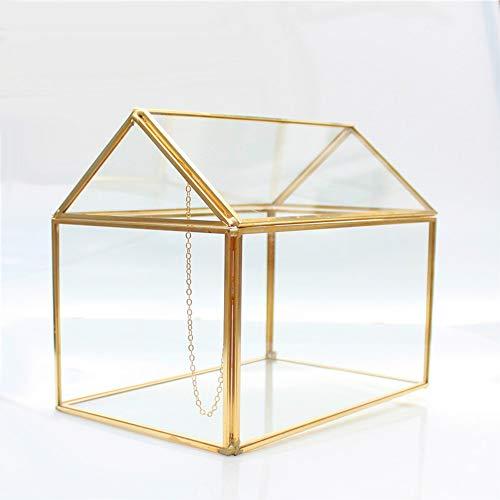 MINGZE Terrario in Vetro a Forma Geometrica, da Tavolo, per Piante grasse, felci e Muschio, portagioie Contenitore Artigianato (d'oro)