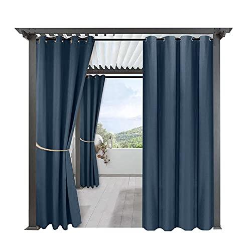 Cortinas Impermeables Sombreado De Lino Fino Y Protección Solar Cortinas Aislantes del Calor para Exteriores para Pabellones De Porches (2PCS) (Armada,134 * 270CM)