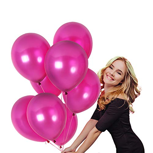 100 12 Inch Thick Shiny Metallic Latex Magenta Fuchsia Pink Balloons with Ribbon Wedding Decorations Graduation Party Birthday Valentines
