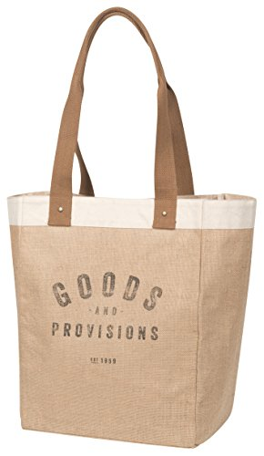 Now Designs Burlap Market Tote, Goods and Provisions