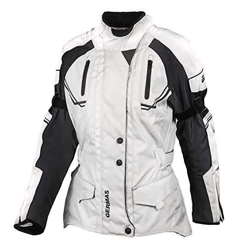 GERMAS gms Taylor Damen Motorradjacke mit Protektoren - Textil Motorradjacke, wasserdicht, winddicht, Farbe:beige-schwarz, Größe:DXL