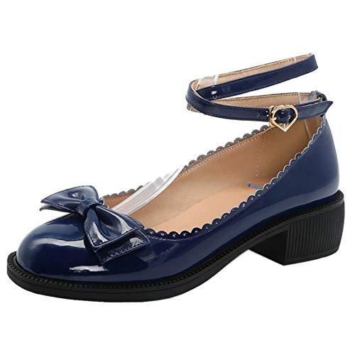 DunaCuna Damen Süß Pumps mit Bogen Low Blockabsatzs Fruhling Student Schuhe Fesselriemen Pumps Blue Gr 44 Asiatisch