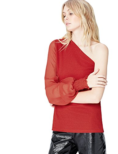 Marca Amazon - find. Vestido Asimétrico para Mujer, Rojo (Red), 38, Label: S