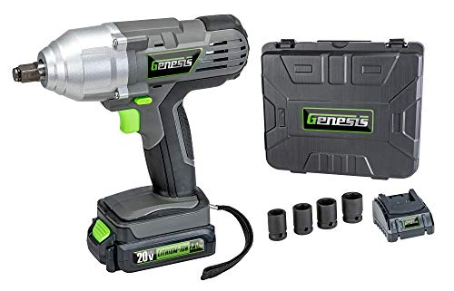 Genesis GLIW20AK 20V Lithium-Ion Impact Wrench Kit with Built-in LED Work Light, Removable/Rechargeable Lithium-Ion Battery, 1-Hour Quick Charger, 4-Piece Socket Set, and Storage Case