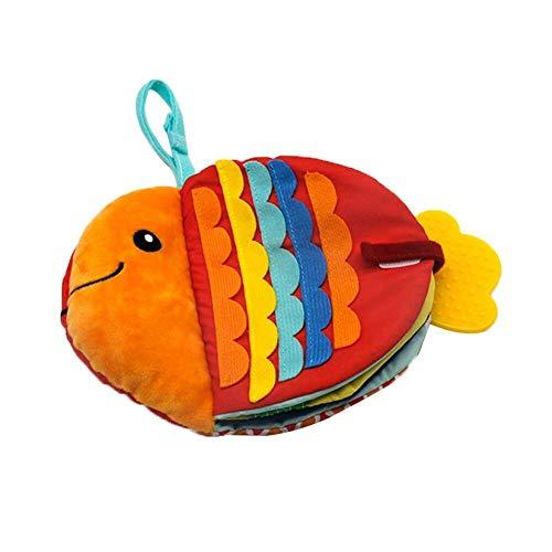 Oulensy Creativo Pequeño Pez Libro De Paño De La Historieta De Los Animales De Mar del Bebé Educación Temprana Calmante Juguete Lavable Libro De Paño De La Ilustración