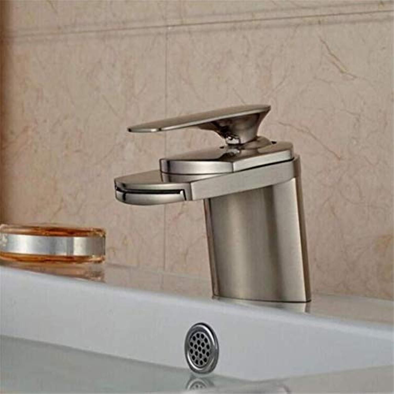 Retro Heier Und Kalter Wasserhahn Mixer Luxusüberzugwasserhhne Waschtischarmatur Wasserfall Einhandkurbel Wasserhahn Bad Nickel Gebürstet Mischbatterie
