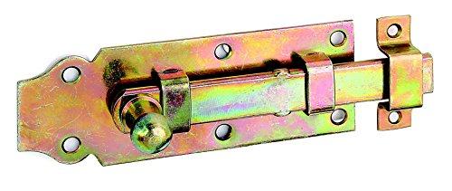 GAH-Alberts 115395 Türriegel mit Knopfgriff, gerade, mit befestigter Schlaufe, galvanisch gelb verzinkt, 120 x 44 mm