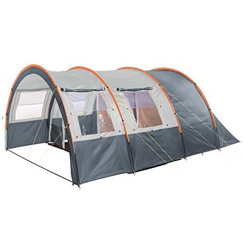 Skandika Kemi - 4 Personas - Tienda de campaña - túnel - mosquiteras - 480x340cm - Varillas Fibra óptica (Gris/Naranja)