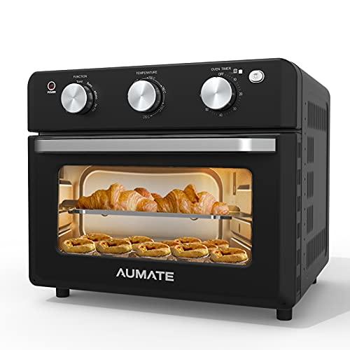 7-in-1 Multifunktion Mini Ofen,AUMATE Minibackofen mit Umluft 7 Kochmodi,18L Backofen mit Heißluftfritteuse,Ohne Öl Elektrischer Ofen mit 4 Zubehör