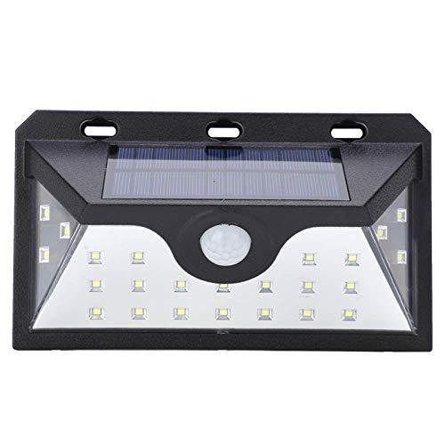 Luces solares Sensor de movimiento para exteriores, lámpara de pared de inducción de cuerpo humano ajustable de 24 LED para patio exterior, pasillo, entradas, jardín
