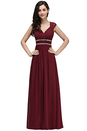 Damen Elegant Ärmelos V-Ausschnitt Chiffon Abendkleid Festkleid Rückenfrei lang Weinrot 40