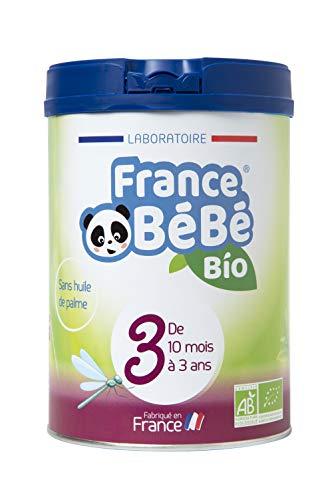 FRANCE BéBé BIO - Lait infantile de croissance bébé 3ème âge en poudre - Lait fabriqué en France - 13 Vitamines 12 Minéraux - 800g