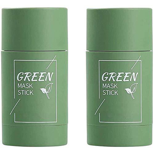 Chagoo Mascarilla facial limpiadora en barra de 2 piezas, mascarilla de arcilla purificadora de té verde/berenjena, limpieza profunda de los poros, elimina las espinillas (2pcs Green Tea Mask)