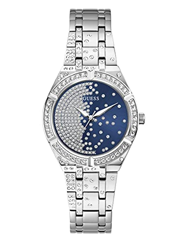 GUESS Reloj de cuarzo para mujer con correa de acero inoxidable, plateado, 16 (Modelo: GW0312L1)