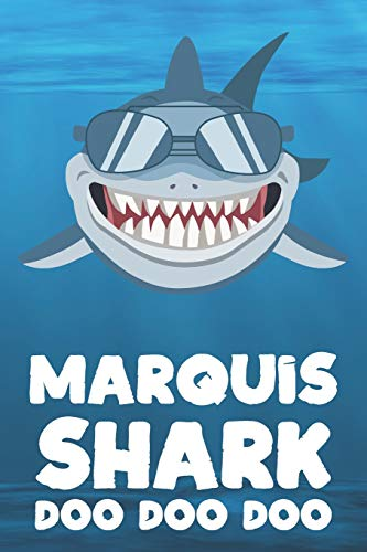 Marquis - Shark Doo Doo Doo: Blank Ruled Name Personalized & Customized Shark Notebook Journal for Boys & Men. Funny Sharks Desk Accessories Item for ... Supplies, Birthday & Christmas Gift for Men.