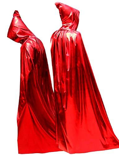KIRALOVE Capa para Disfraz de Diablo - Infernal - Disfraces de Mujer - Carnaval - Capucha de Demonio Rojo de Halloween - secta - Brillante - translcido - Talla nica - Idea de Regalo Original