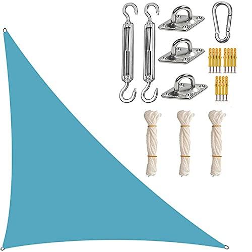 XYWML Toldo Vela De Sombra Triangular, Transpirable Protección Rayos UV Resistente para Patio Exteriores Jardín (5 x 5 x 7.1m,LagoAzul)