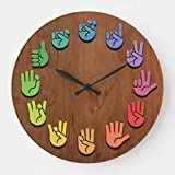 Pattebom ASL Woodgrain Wood Wall Clocks Decorative Living Room Battery Operated Non Ticking 12 Inches Birthday Christmas