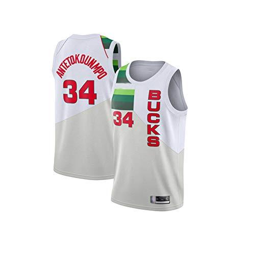 Basketball-Trikot Milwaukee Bucks #34 Giannis Antetokounmpo Herren-Jugendtrikot, Ärmelloses T-Shirt Mesh-Basketballtrikot Wiederholbare Reinigung-WhiteB-M(175~180CM)