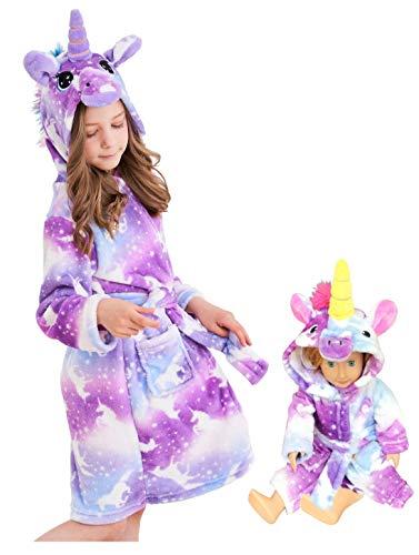 Unicorn Hooded Bathrobe Sleepwear Matching Doll & Girls Gifts (Purple Unicorns, 10-11 Years)