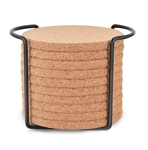 Dciustfhe Sottobicchieri rotondi in sughero per decespugliatore, con supporto in metallo, riutilizzabili, per bicchieri da vino freddi