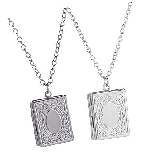 Collar con colgante de cadena para hombre y mujer, diseño cuadrado