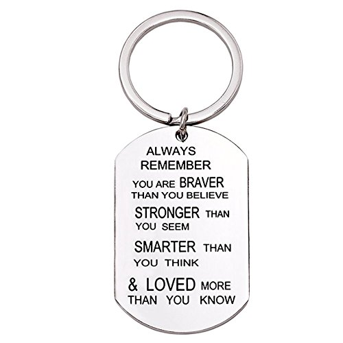Inspirational Gifts for Women, Best Friend Birthday Keychain Gifts, Always Remember You are Braver Stronger Smarter Than You Think, Titanium Steel Key Chains