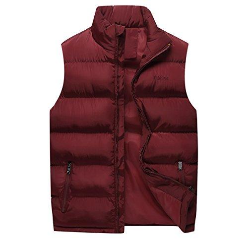 YOUTHUP heren wintervest gewatteerde warme winter jas Gilet met opstaande kraag