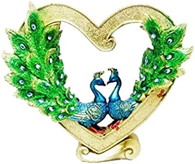 Shree Shyam Enterprises Peacockshowpices with Heart Shap Decorative Showpiece