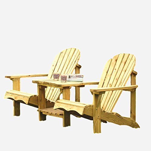 XFACTOR DEAL LIMITED Wooden Love Seat Garden Furniture Outdoor Companion Set Patio Outside 2 Seater Modern Small Luxury Balcony Natural &E Book