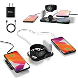 4 in 1 Detachable Magnetic Wireless Charger,15W Wireless Charging Pad with [QC3.0 AC Adapter] Charging Dock Compatible with iPhone 12 Pro Max/12 Mini/iWatch Airpod Series, and All Qi-Enabled Phones