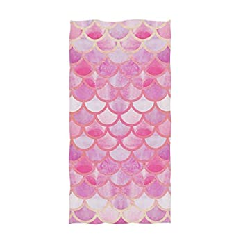 Naanle Chic Beautiful Pink Mermaid Scales Pattern Soft Large Hand Towels Multipurpose for Bathroom Hotel Gym and Spa  16  x 30