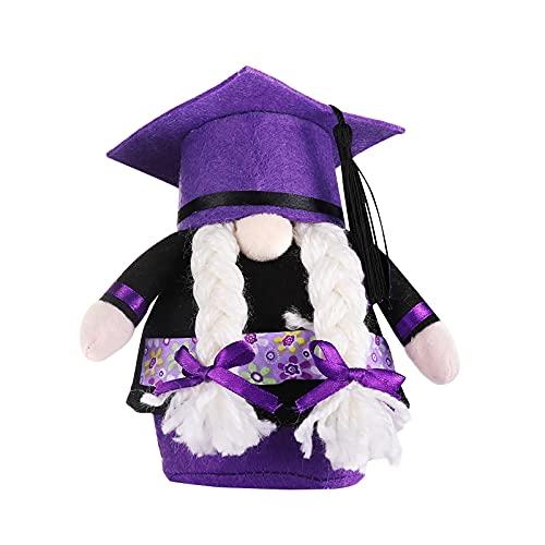 YWYU Gnomos de graduación Gnomo, muñeca 2021Graduación vestido gnomo estatuilla enana sin rostro con gorra de graduación y vestido