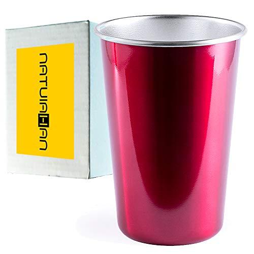 Natuiahan Taza de Acero Inoxidable Premium Vaso para Beber de Color Metalizado y Apilable, sin BPA, de 500 ml. Rojo. Incluye Caja de Regalo