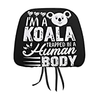 I AM A Koala コアラ 車用ネックパッドカバー クッションカバー ヘッドレストカバー 車用 ふわふわ 吸水速乾 色褪せない カーまくらカバー ネックピローカバー 取付簡単 自動車 椅子 車内 装飾枕カバー カーシートアクセサリー