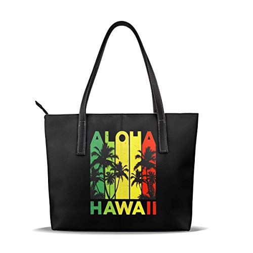 Bolso de hombro de cuero de gran capacidad - Vintage Hawaiian Islands Tee Hawaii Aloha State Bolso para hombres y mujeres