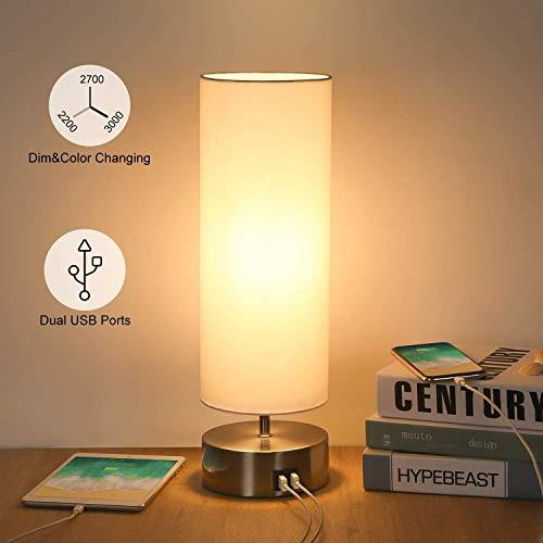 Raelf Tischlampe mit 2 USB-Ladeführungen in verschiedenen Farbmodi, USB Bedside-Touch-Konsole Licht 3 fach verstellbar 3 Sektionen Nachttischlampe Ambient Light Round Cover, Schlafzimmer Büro, 6W LED-