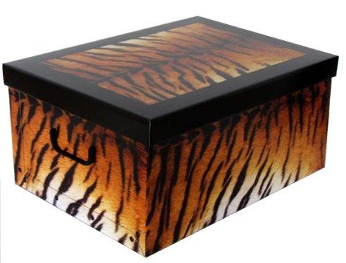 Caja de cartón grande con tapa con diseño de tigre