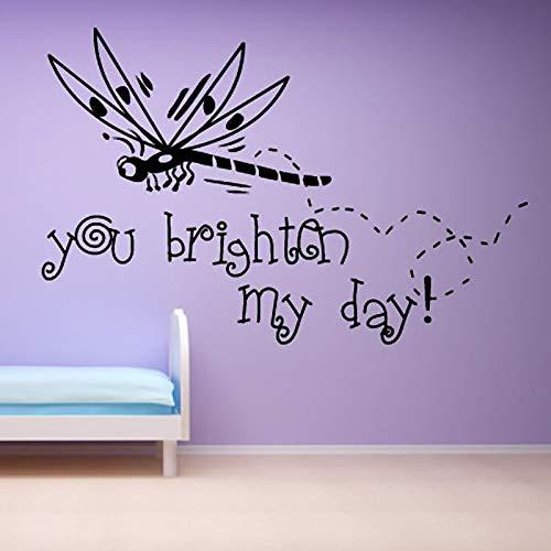 You Brighter My Day Vinyle Art Sticker Amovible Bande Dessinée Enfants Chambre Décor À La Maison Libellule Sticker Mural 88cm X 59c