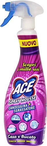 ACE - Spray Mousse + Candeggina Sgrassatore, Igienizza, Sgrassa, Smacchia - 700 ml