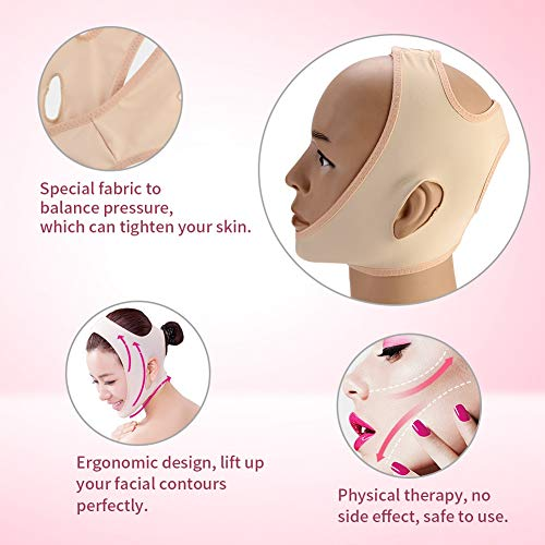 V-Line Chin Cheek Lift Up Band, Double Chin Reducer Facial Lifting Belt for Women, Anti Wrinkle Bandage, V-Line Chin Cheek Lift Up Band for Women Élimine le relâchement cutané Lifting(XL)
