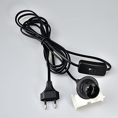 Aiwode Portalámparas E14 con Cable y Interruptor,4 Metros Casquillo E14 con Enchufe,Cable de Lámpara para Colgar Lámparas,Negro 1 Pieza.