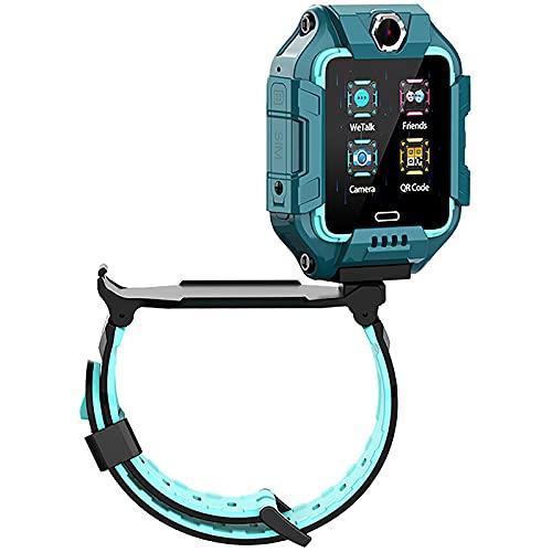 shjjyp Smartwatch Llamadas Sim Impermeabley GPS Lbs Rastreador PodóMetro Impermeable CáMara Sos Pantalla TáCtil HD ConversacióN Bidireccional Reloj Inteligente para NiñOs Regalo para NiñOs NiñA,Verde