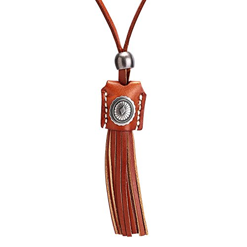 Beydodo Modeschmuck Herren Halskette Leder Kette mit Anhänger Beutel Graviert Blumen mit Quaste Lederketten Einstellbar Braun Kette