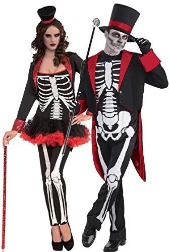 Fancy Me Coppia Uomo & Donna Mr e Signora Scheletro Giorno dei Morti Teschio di Zucchero Halloween Costume Costumi, Outfit