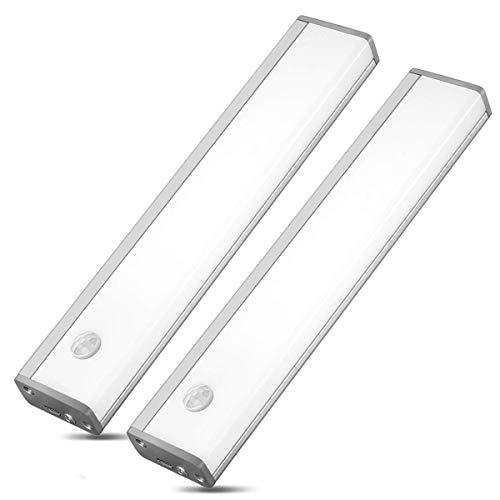 Schrankbeleuchtung Led Bewegungssensor Unterbauleuchte Akku küche led nachtlicht bewegungsmelder Schranklicht USB wiederaufladbar für Kleiderschrank Küche,Schrank(20cm Kaltweiß 2pcs)