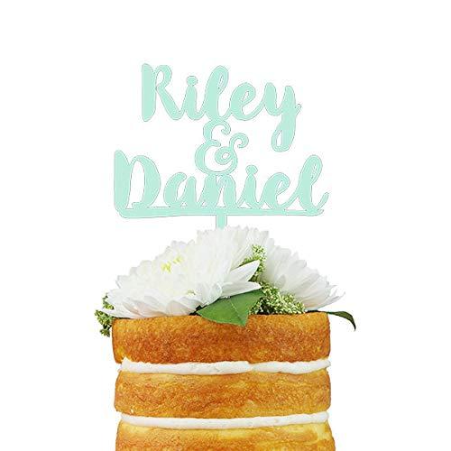 Aangepaste bruiloftstaart Topper Custom Saying Cake Topper met maximaal drie regels tekst voor bruiloft, verjaardag of verjaardag