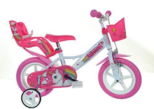Dino Bikes Unicorn Einhorn-Fahrrad, 124RL-UN, Weiß / Rosa