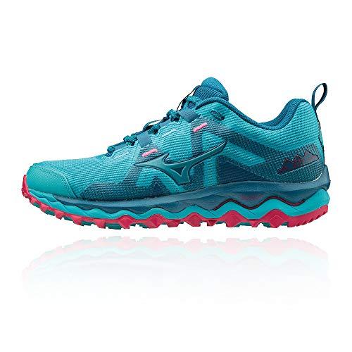 Mizuno Wave Mujin 6, Zapatillas de Trail para Mujer, Peacock Blue / Enamel Blue / Bright Rose, 40