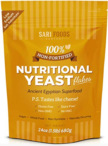 Natural Non-Fortified Nutritional Yeast Flakes (24 oz.) Whole Food Based Protein Powder, Vitamin B Complex, Beta-glucans and 18 Amino Acids
